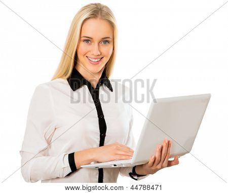 Portrait of a young business woman with laptop
