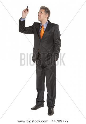 Businessman holding in hand a pencil. Isolated on white background