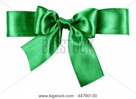 green bow made from silk ribbon