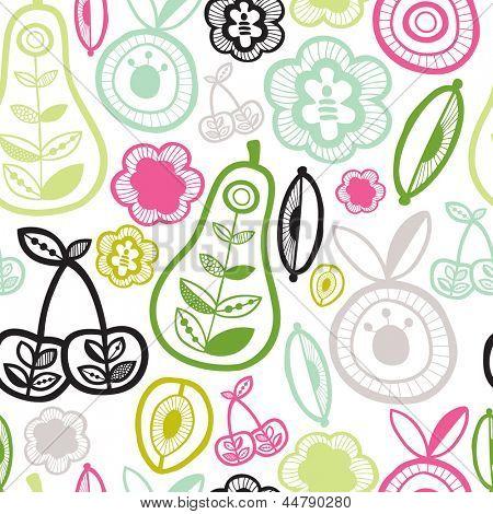 Seamless garden fruit retro illustration background pattern in vector