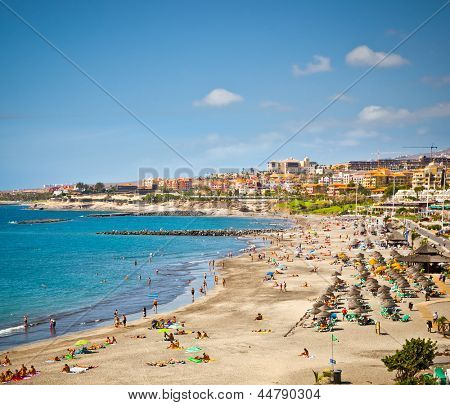Beautiful send beach in Adeje Playa de las Americas on Tenerife, Spain.