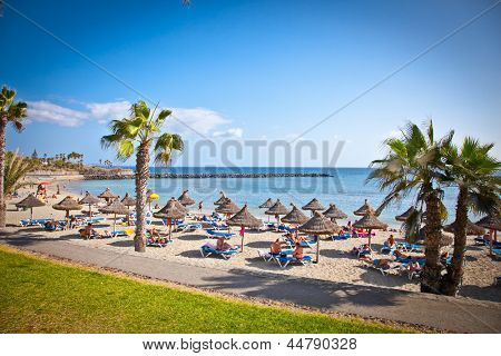 TENERIFE, SPAIN-SEPTEMBER 17:Beach Playa de la Vistas  on September 17, 2011. Tenerife,Spain. More than 5 million tourists from UK visit Tenerife every year.