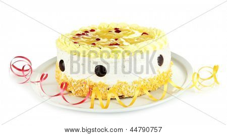 Tasty cake, isolated on white
