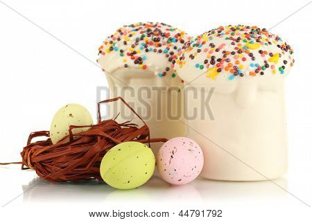 Easter cake with sugar glaze and eggs isolated on white