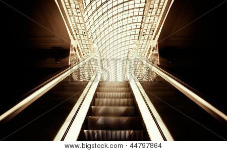 Empty escalator stairs ,selective focus on nearest part