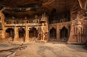 stock photo of jain  - Rockcut Statues of Jain thirthankaras in rock niches near Gwalior fort - JPG