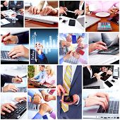 stock photo of person writing  - Business people team collage - JPG
