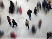 stock photo of combine  - Shoppers in mall combined with other blurred shoppers - JPG