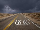 Historic Route 66 storm sky in California's Mojave desert.