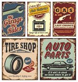 stock photo of auto garage  - Vintage car service metal signs and posters vector - JPG