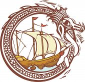 stock photo of kraken  - Woodcut style image of a dragon encircling a pirate ship - JPG