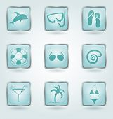 stock photo of beachfront  - Set of 9 square buttons with vacation and beachfront icons - JPG