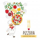 Chef engraçado com uma pizza grande e ingredientes, vector illustration