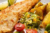 stock photo of baked potato  - Fish dish  - JPG