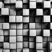 picture of crate  - Abstract background from concrete cubes - JPG