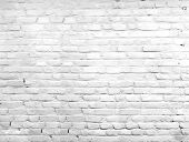 stock photo of brick block  - White grunge brick wall background - JPG