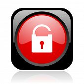 padlock black and red square web glossy icon