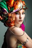 stock photo of pinup girl  - A photo of beautiful redheaded girl in a head - JPG