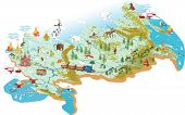 stock photo of sochi  - Cartoon vector map of Russia with a symbol of Moscow  - JPG