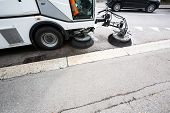 picture of sweeper  - Detail of a street sweeper machine - JPG