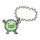 furry green creature with speech bubble poster