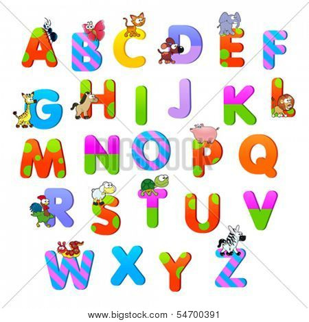 Alphabet with animals. Funny cartoon and vector isolated items.