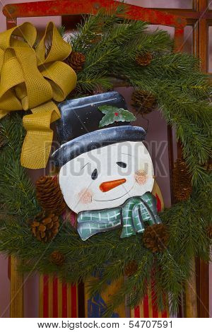 Christmas Snowman With Wreath And Ribbon