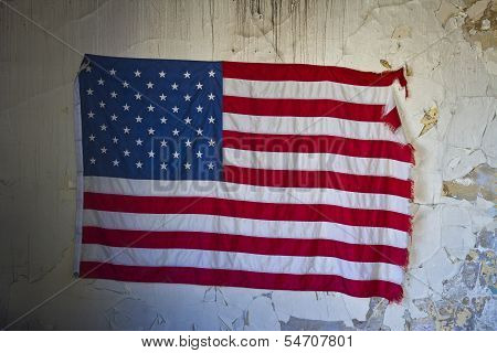 Us Flag In An Abandoned Building