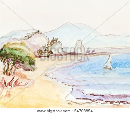 Italian Landscape With Sailing Boat