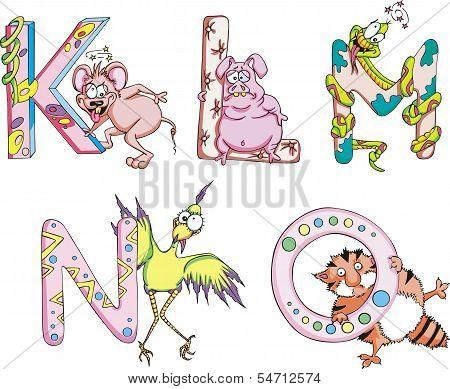 Funny Childish Letters Klmno