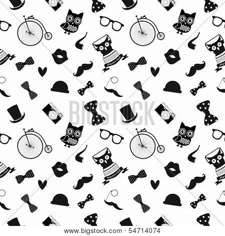 Vector Hipster Black and White Seamless Pattern Background