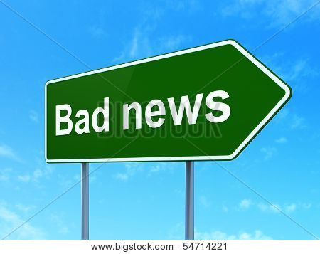 News concept: Bad News on road sign background