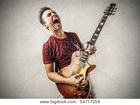 Excited Guitarist