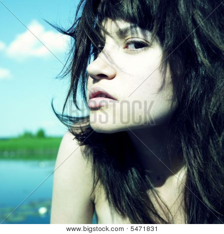 Sensual Young Woman On Lake