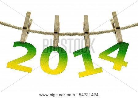 New Year 2014, Hanging On The Clothesline On  White Background.