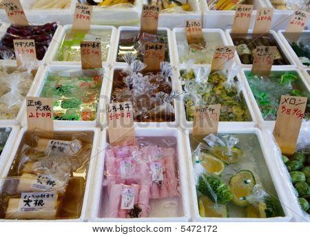 Various Items From The Sea In A Tokyo Japan Open Market