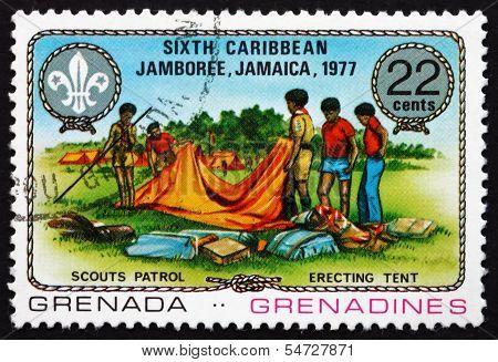 Postage Stamp Grenada 1977 Erecting Tent