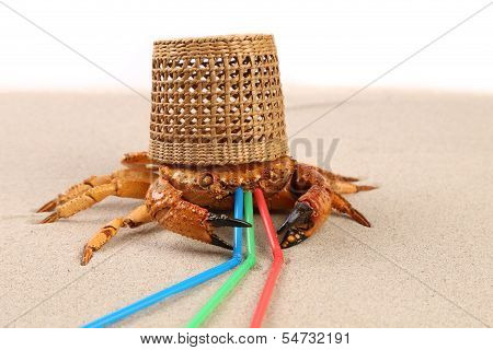 Basket, crab on sand and tubules for a cocktail