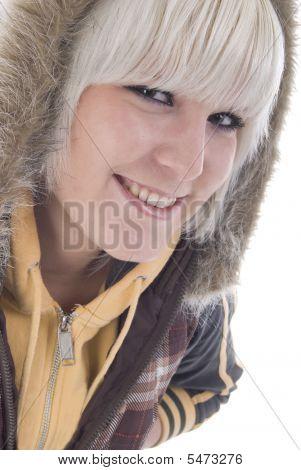 Blonde Girl Portrait. In The Hood.