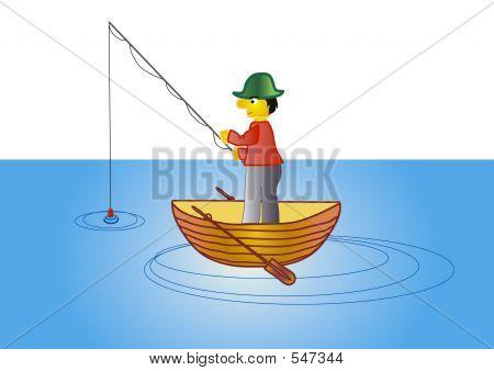 Angler In The Boat