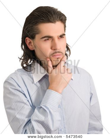 Young Worried Handsome Male Thinks Of Something Hard Isolated White