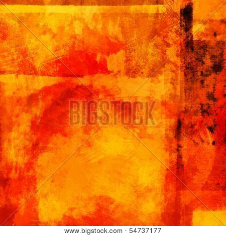 art abstract acrylic background in bright yellow, orange and red colors