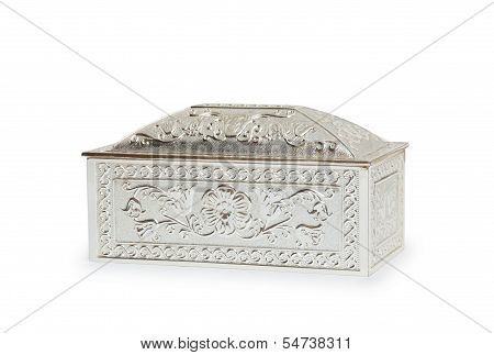 Silver Jewelry Box Isolated On White