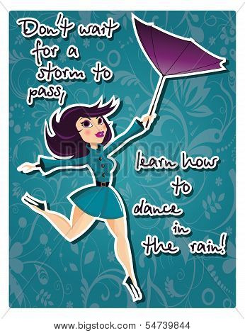 Motivation poster with pin up girl and message, vector illustration
