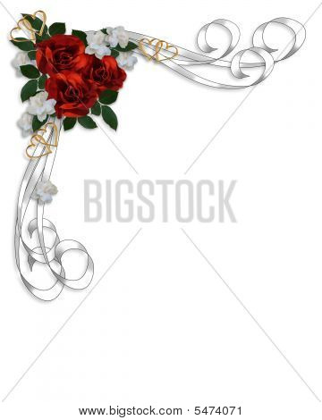Wedding Invitation Red Roses Border