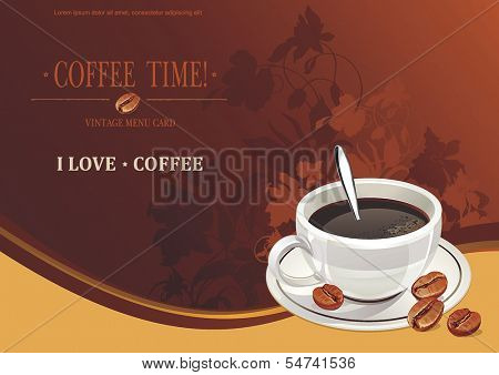Coffee background with realistic coffee beans. Vector illustration