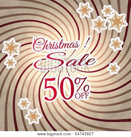 Red Vintage Wooden Christmas Discount 50 Percent Off Symbol