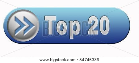 top 20 charts list pop poll result and award winners chart ranking music hits best top tweny quality rating prize winner blue icon