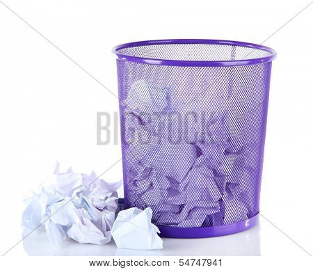Recycle bin filled with crumpled papers, isolated on white