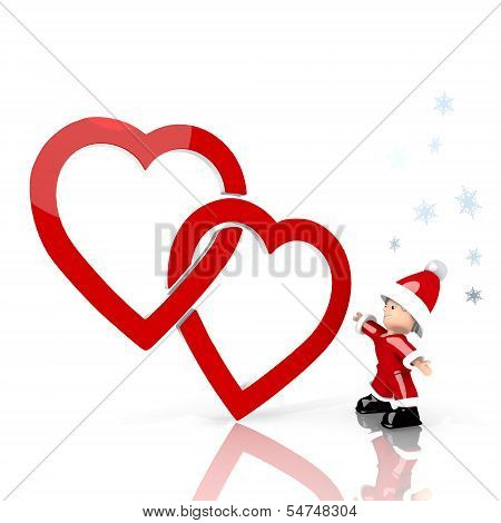 Mini Santa Claus With Giant Two Hearts Label